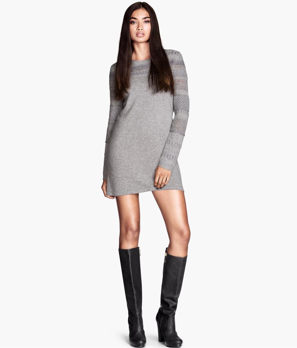 long-sleeve knit dress