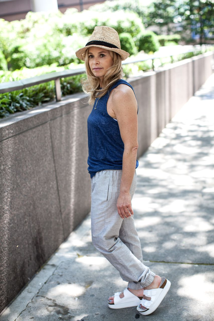relaxed chambray tank top